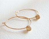 Gold Little Disc Hoop Earrings