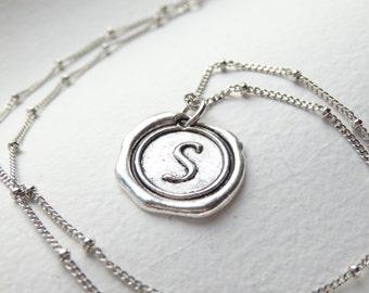 Antique Silver Wax Seal - S - Monogram Necklace