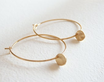 Gold Little Disc Hoop Earrings
