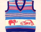 1960s Kiddie Sweater Vest // Elephant & VW Beetle // Hand Knit