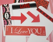 Love Mini Album Kit Project Life Inspired,  Scrapbooking, Card Making, Red Black White Pink, Wedding