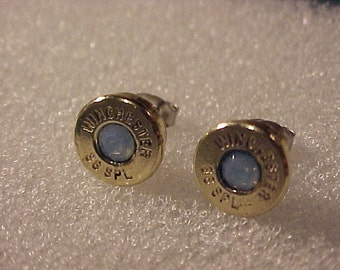 Bullet Earrings 38 Special Brass Shell Blue Opal Swarovski Crystal - Free Shipping to USA
