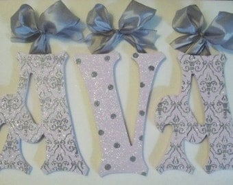 GLITTER and SPARKLE  Lilac and Gray Hand Painted Wood Wall Letters,  Baby Nursery Wall Letters