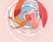 Pink Waves Mermaid Print