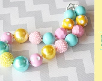 Chunky necklace { Bella } Pink, Aqua yellow Easter, cake smash, first birthday, Spring and summer, photography prop