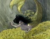 Leaf Coral Mermaid - 8x10 print