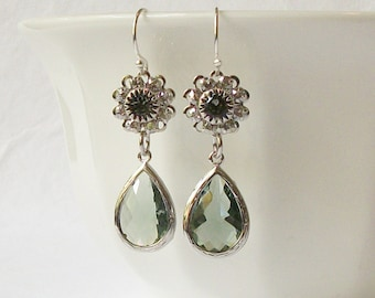 Princess Gray Silver Crystal Earrings