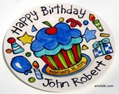 "10"" or 7"" CUSTOM ceramic Birthday Cake Plate Personalized birthday theme cupcake"
