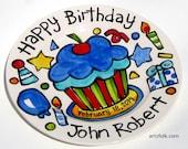 "CUSTOM Large 10"" Birthday Cake Plate Personalized birthday theme cupcake"