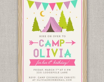 Glam Camping Birthday Invitation