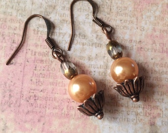 Glass Beaded Dangly Earrings with Pearls