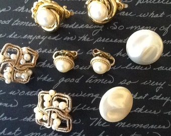 Vintage Crown Trifari Clip Earring Lot 4 pairs All Signed Goldtone Mad Men 50s-60s