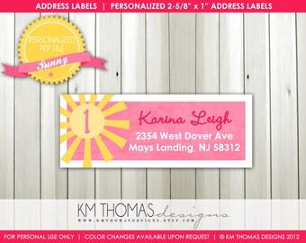 Sunny...Custom Address Label or Sticker...Printable Design...by KM Thomas Designs Item 116