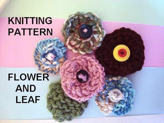 Knitting PATTERN Flower and Leaf Easy beginner pattern