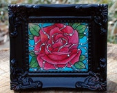 Tiny Rose with Pearls Original by Cora Rountree