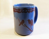 Ceramic Midnight Crows Mug Extra Large Blue and Sepia Coffee Cup
