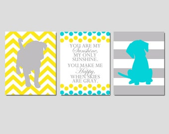 Baby Boy Puppy Dog Nursery Art Trio - Set of Three 8x10 Prints - Chevron Stripe Puppy Dogs, You Are My Sunshine - CHOOSE YOUR COLORS