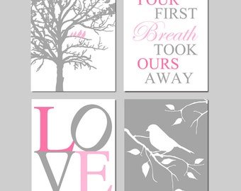 Girl Nursery Art - Birds in a Tree, Your First Breath Took Ours Away, Love, Bird on a Branch - Set of Four 8x10 Prints - CHOOSE YOUR COLORS