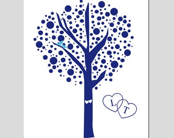 Custom Wedding Love Birds Tree Dot  - 8x10 Original Print - CHOOSE YOUR COLORS - Great Wedding Gift