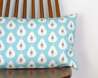 STUDIO SALE - Pale Turquoise Pear Print Bolster Cushion Cover Pillow Sham