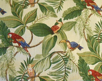TROPICAL PARROT Mill Creek FABRIC, Colorful Birds Green Leaves Palm Fronds, Textured Ecru Back Cotton, 3 Yds Curtains Slipcovers Cushions