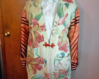 Star Gazer Lily BARKCLOTH SWAGGER COAT Nubby Texture, Salmon Chenille Sleeves, Gray Poppy Back Rose Embroidery, Swing Duster Jacket 12 14