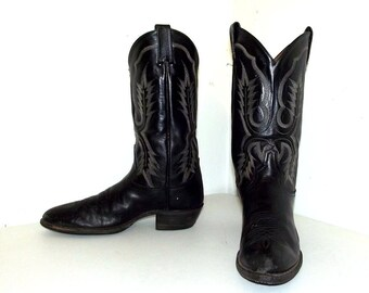 Rockabilly style Black Tony Lama Cowboy boots size 9.5 B
