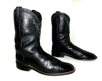 Dan Post Black leather Cowboy boots size 10.5 D or cowgirl size 12