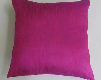 fuschia pink ,whild rose  dupioni silk throw pillow 18 inch pillow cover.