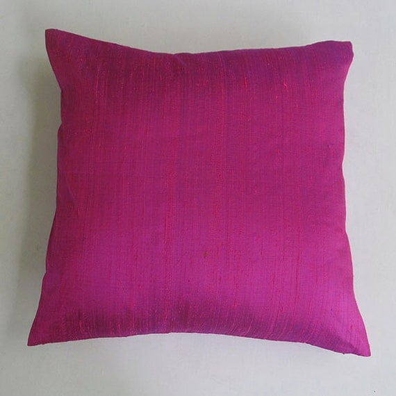 fuschia pink silk pillow. Hotpink dupioni silk throw pillow.