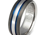 Titanium Wedding Band - Thin Blue Line Ring - sa22