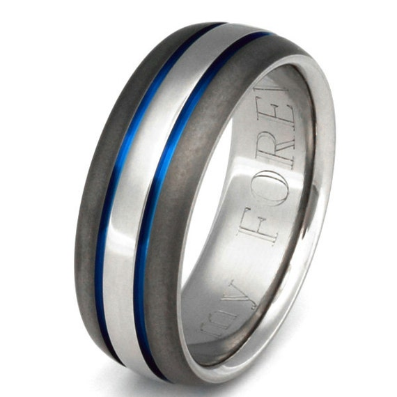 Titanium Wedding Band Thin Blue Line Ring sa22