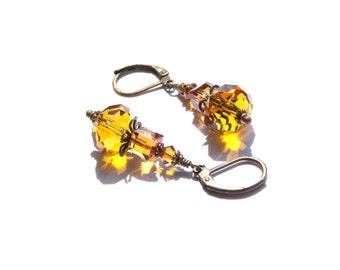 Topaz Crystal Earrings, Topaz, Swarovski Earrings, Crystal Earrings, Modern Earrings, Traditional Earring, Earring Drops, Gift Ideas, Gifts