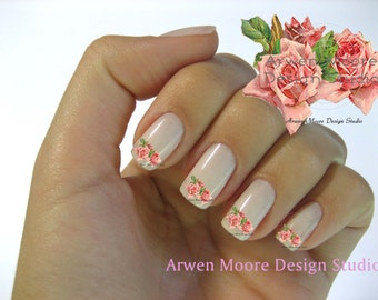 Shabby Very Chic Red Roses Vintage Floral Nail Art Decal Waterslide Miniature Water Decals - fw-048