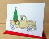 Vintage Truck at the Tree Farm  - Christmas Card  - Holiday Card set of 8