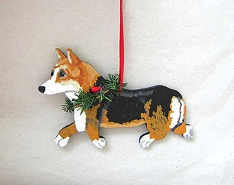 Hand-Painted WELSH CORGI TRI-Color Trotting Wood Christmas Ornament Artist Original...Nicely Painted
