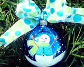 Baby's 1st Christmas Snowman Ornament hand painted Personalize Your Choice