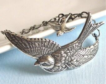 Silver Bird Bracelet Cuff - Bird Jewelry, Nature Jewelry. Bird Bracelet