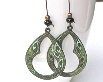Large Patina Moroccan Earrings - Verdigris, Boho, Bohemian