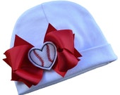 I Heart Baseball Embroidered Baby Hat
