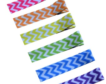 Chevron Print Girls NO SLIP Alligator Hair Clip Set