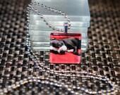 BOSTON Terrier dog photo glass pendant tile charm necklace dog rescue