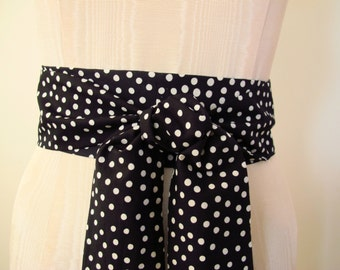 Obi Belt, Black and White Obi, Dot Print Obi, Cotton Obi - made to order