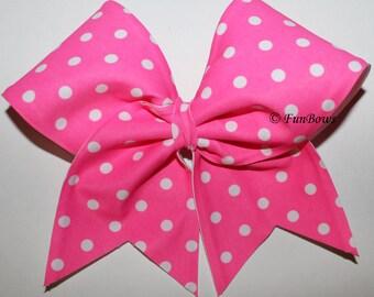 Pink Polka Dot Cheer Bow - Fun Summer bow - Awareness - by Funbows