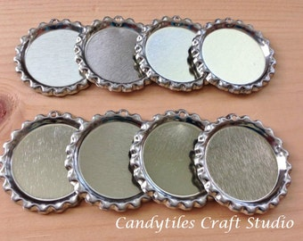 50pc..Flattened Chrome Bottle Caps...With Hole...Comes with Split Rings...Great for Magnets and Necklaces