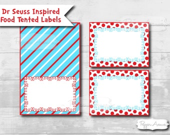 INSTANT DOWNLOAD - Dr Seuss Inspired Flat & Tented Labels - Place Cards, Address Labels, Food or Drink Labels - DIY Printable Files