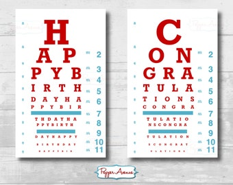 Doctor or Nurse Party Eye Chart - Birthday or Graduation ...