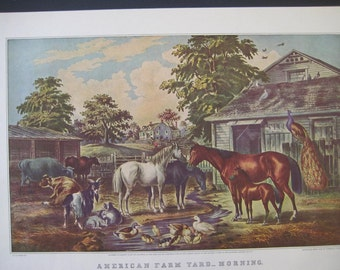 Large Antique color Lithograph, The  American Farmyard. FREE U.S. SHIPPING