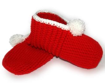 Red Crocheted Slippers, Christmas Slippers, Christmas Gift, Mrs Claus, Valentines Slipper, Adult Slipper, Womens Slipper, Holiday Slipper