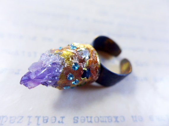 Raw amethyst with rhinestones on chunky oxidized ring with coppery gold leaf. The Imagination.